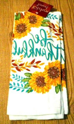 1 One Country Sunflower Kitchen Towels Be Thankful White Gol