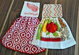 1 RED WING & 1 FRUIT HANGING KITCHEN DISH TOWELS HOOK AND LO