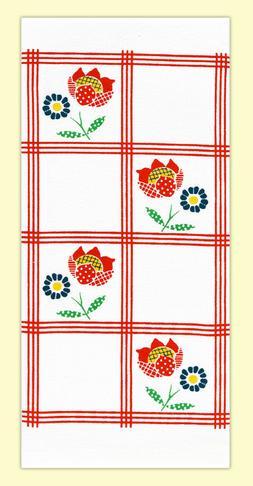 Red and White Kitchen 100% Cotton Flour Sack Towel - Vintage