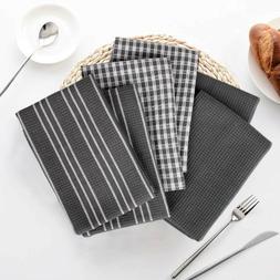 100% Cotton Kitchen Towels Set With Hanging Loop, Bar Mop Te