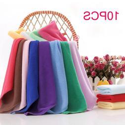 10pcs Colorful Soft Square Candy Color 25*25cm Microfiber So