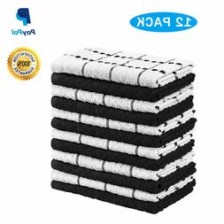 12 Pack Cotton Dish Towels 15 x 25 Inches Absorbent Dishclot