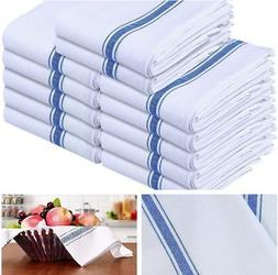 12 Pack Kitchen Towels Dish Towels Cotton White Blue Dishclo