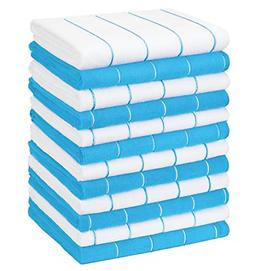 Khaki and White and Lint Free Kitchen Towels Super Absorbent Gryeer 12 Pack Microfibre Tea Towels Soft Stripe Designed 18 x 26 Inch