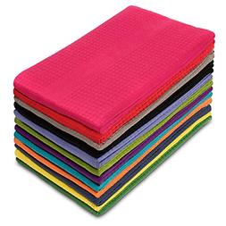 12 Pack Multicolor Kitchen Towels Pure Cotton Absorbent Waff