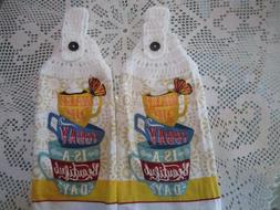 ***  2-HANGING KITCHEN TOWELS+NEW+100% COTTON, CROCHETED TOP
