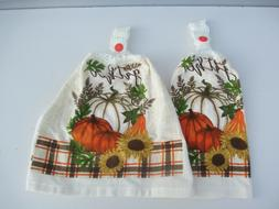 2 Hanging Kitchen Dish Towels With Crochet Tops Gather Sunfl