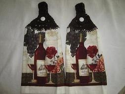 ***  2-PIECE KITCHEN HANGING TOWEL,TOWELS+WINE BOTTLES++NEW+