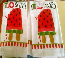 2 PRINTED KITCHEN TOWELS  WATERMELON POPSICLE, CHILL OUT by
