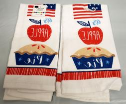 2 SAME PRINTED KITCHEN TERRY TOWELS  AMERICA AS APPLE PIE by