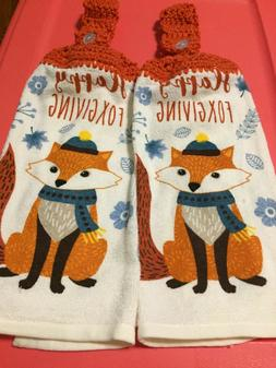 2 crocheted hanging kitchen towels happy foxgiving