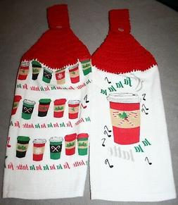 2 Crocheted Kitchen Towels - Christmas Holiday Fa La La Latt