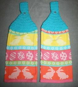 2 Crocheted Top Kitchen Towels - Easter Spring Bunnies Rabbi