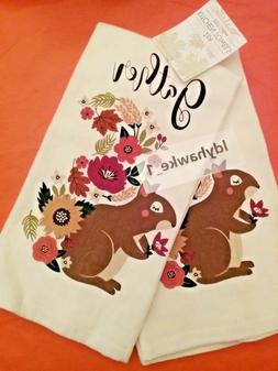 2 Cute GATHER Squirrel with Floral Tail Kitchen Towels Autum