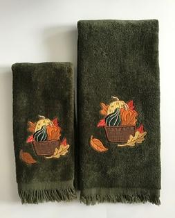 2 Fall Terry Cloth Towels, Embroidery w/gourds & leaves, 1 H