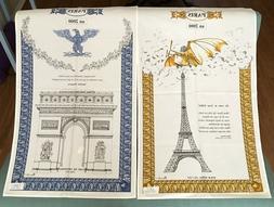 2 Beauville French Kitchen Linen Tea Towel Eiffel Tower Blue