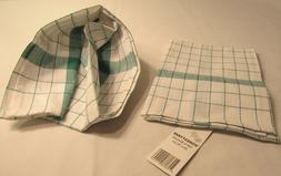2 Green & White Checkered Kitchen Towels w/Hanging Loop, 100