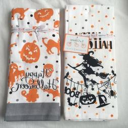 2 Halloween Kitchen, Hand Dish Towels,  Orange Gift Home, Wi