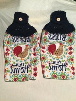 2 Hanging Crochet Cotton Kitchen Towels Bless This Home Roos