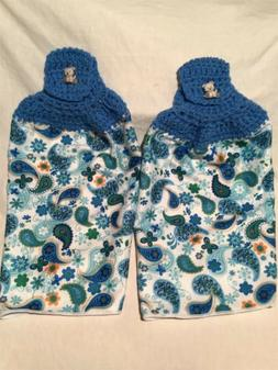 2 Hanging Crochet Cotton Kitchen Towels Blue Flowers And Des