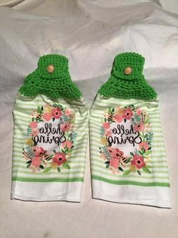 2 Hanging Crochet Cotton Kitchen Towels Hello Spring Colorfu