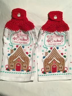 2 hanging crochet cotton towels mrs claus