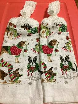 """2 Hanging Crochet Kitchen Dish Towels """"Christmas Dogs"""""""
