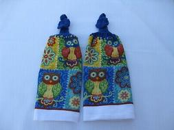 2 Hanging Double Kitchen Towels w/Royal Blue Crochet Tops -