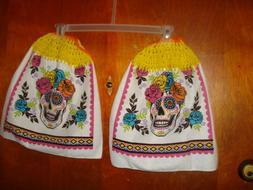 2 Hanging Kitchen Dish Towels Crochet Tops w/ ties Halloween