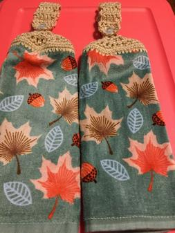 2 Hanging Kitchen Dish Towels Crocheted Fall Leaves