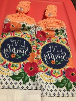 "2 Hanging Kitchen Dish Towels Crocheted ""Live Simply"""