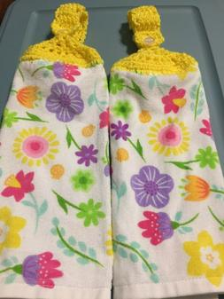 2 Hanging Kitchen Dish Towels Crocheted Spring Flowers