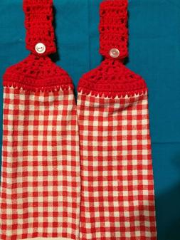 "2 Hanging Kitchen Dish Towels ""Red & 'White Check"""