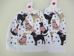 2 Hanging Kitchen Dish Towels w/ Crochet Tops July 4th Dogs