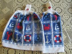 2 Hanging Kitchen Dish Towels w/ Crochet Tops Nautical Lobst