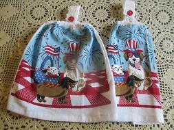 2 Hanging Kitchen Dish Towels w/ Crochet Tops July 4th Dog C