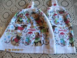 2 Hanging Kitchen Dish Towels w/ Crochet Tops Christmas Dogs