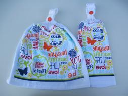 2 Hanging Kitchen Dish Towels With Crochet Tops Bless This H