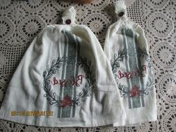 2 Hanging Kitchen Dish Towels With Crochet Tops Blessed