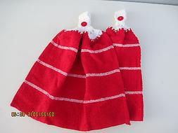 2 Hanging Kitchen Dish Towels With Crochet Tops Textured Red