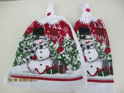 2 Hanging Kitchen Dish Towels With Crochet Tops Christmas Sn