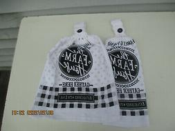 2 Hanging Kitchen Dish Towels With Crochet Tops Farm House F