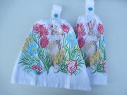 2 Hanging Kitchen Dish Towels With Crochet Tops Spring Easte