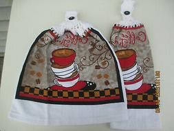 2 Hanging Kitchen Dish Towels With Crochet Tops Coffee Time
