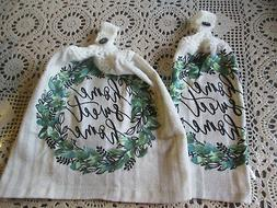 2 Hanging Kitchen Dish Towels With Crochet Tops Home Sweet H