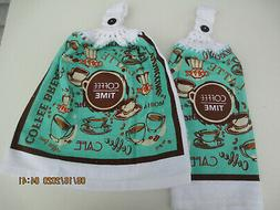 2 Hanging Kitchen Dish Towels With Crochet Tops Coffee Break