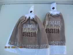 2 Hanging Kitchen Dish Towels With Crochet Tops Thankful Gra