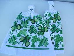 2 Hanging Kitchen Dish Towels With Crochet Tops St Patrick's