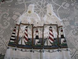 """++ 2-HANGING KITCHEN TOWEL TOWELS WHITE CROCHETED TOPS """"LIGH"""