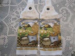 *** 2-HANGING KITCHEN TOWELS+NEW+COUNTRY+100% COTTON WHITE
